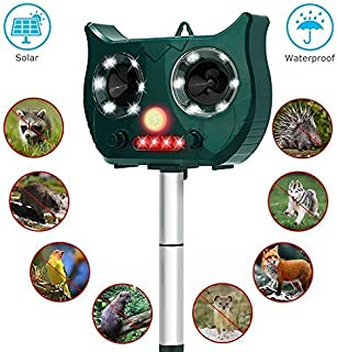 PESTOXO Ultrasonic Animal Repeller - Solar Powered Waterproof Outdoor Animal Repeller with Ultrasonic Sound - Motion Sensor and Flashing Light Animal Repeller for Squirrels,Moles,Cats, Dogs, Rats…