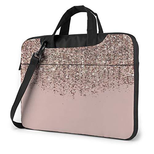 Blush Pink Rose Gold Bronze Cascading Glitter Laptop Bag Messenger Bag Briefcase Satchel Shoulder Crossbody Sling Working Bag 15.6 Inch
