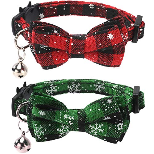 2 Pack/Set Christmas Cat Collar Breakaway with Cute Bow Tie and Bell for Kitty Adjustable Safety Plaid