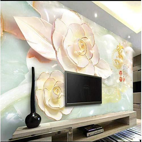 muurschildering foto huis op maat groot - schaal muurschildering bloemen rijk drie - dimensionale reliëfs pioen bloemen TV achtergrond muur behang