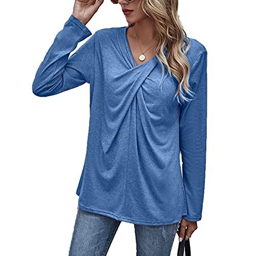 Jersey De Primavera Y Verano para Mujer, Camiseta Suelta De Color SóLido con Cuello En V, Camiseta Informal De Manga Larga A Media Altura para Mujer