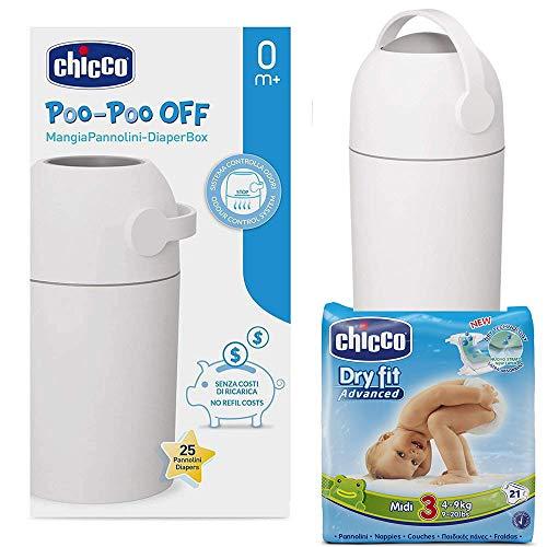 Chicco Starter Set: odore Off secchio per pannolini Argento–geruchsdichtes SISTEMA, tradizionali sacchetti utilizzabile + Chicco pannolini Midi Taglia 3(4–9kg)