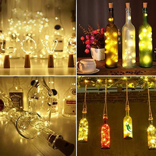 YLHXYPP Luces de botella de vino con corcho de 2 m y 20 LED de alambre de cobre de bajo consumo. Cadena de luces cálidas para decoración de bodas de fiesta y protección del medio ambiente.