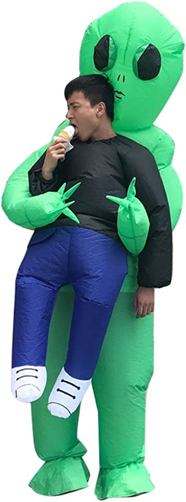 MFG 全品最安値に挑戦 Inflatable Blow 返品送料無料 Up Green Alien Rider Carrying Man A Hallowee