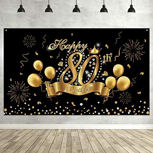 80th Geburtstag Schwarz Gold Party Dekoration, Extra Großes Stoff Schwarz Gold Zeichen Plakat für 80th Jahrestag Foto Stand Hintergrund Banner, 80th Geburtstag Party Lieferungen