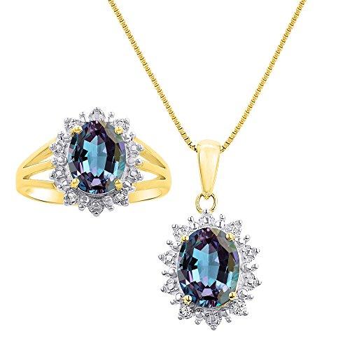 Juego de collar y anillos de oro amarillo de 14 quilates con cadena de 45,7 cm inspirados en la princesa Diana con diamantes de Halo y Simulado Alejandrita