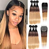 Ombre Bundles With ClosureOmbre Straight Human Hair 4×1Lace Part 1B/4/27Ombre Brazilian Virgin Hair 3 Bundles (20''22''24'' with 18'',Middle Part) 3 ToneOmbre Hair Ombre Bundles with Lace Closure