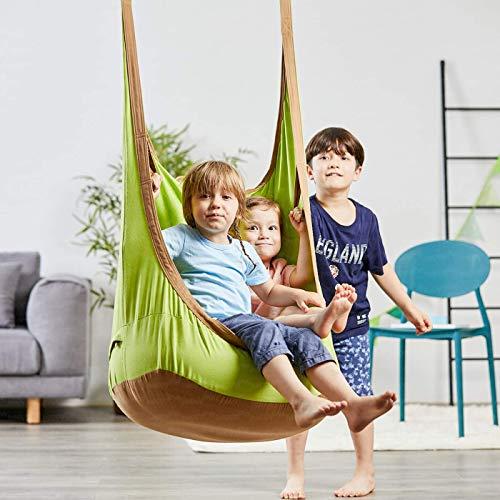 happypie Columpio colgante de rana para interior y exterior, hamaca para niños a adultos, 100% algodón, verde
