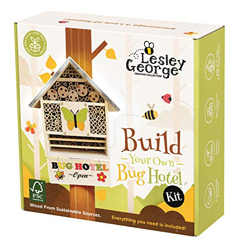 Build Your Own Bug Hotel Kit - Eco Wood Insect House Building Kit for Kids - Insect Hotel Natural Bamboo Shelter for Garden - Butterfly and Bee Hotel Kit