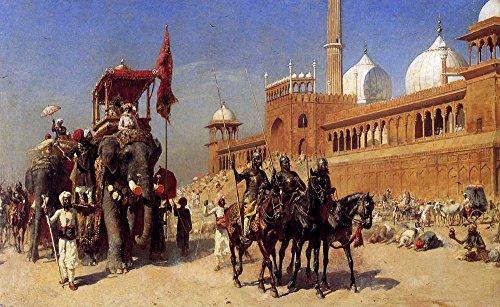 Das Museum Outlet–Edwin Lord Weeks–Großmogul (und sein Hof Rückkehr von der Großen Moschee bei Delhi Indien–Poster Print Online (61x 45,7cm)