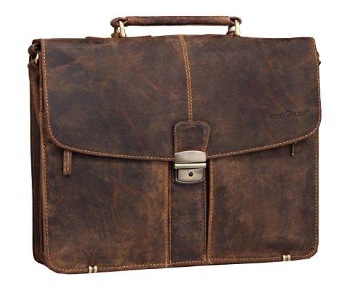 Greenburry Vintage Aktentasche Lehrertasche in braun aus echtem pflanzlich gegerbten Rindleder mit geteiltem Hauptfach