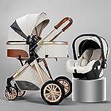 B.CHILDHOOD Baby Stroller Foldable Travel System High Landscape View Pram Pushchair Pram Buggy, Cream