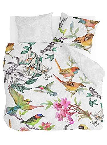 Byrklund Bettwäsche-Set Singing Birds, Baumwolle, 200x220 cm, Wendebettwäsche, 3-teilig, Vögel/Weiß/Grau