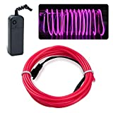EL Wire Lychee Neon Glowing Strobing Electroluminescent Light El Wire w/ Battery Pack for Parties, Halloween Decoration (Pink, 15ft)