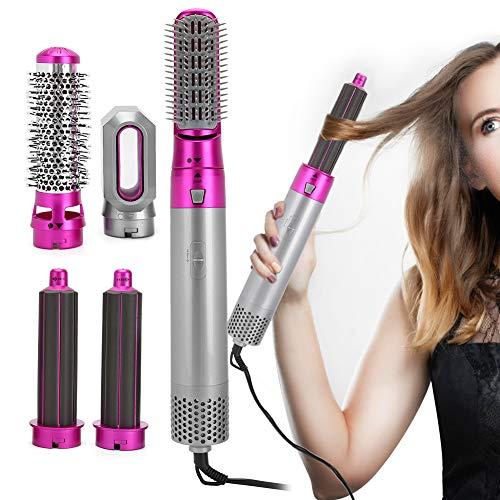 Haartrockner Kamm, 5 In 1 Multifunktions Ein Schritt Haartrockner und Volumizer Negative Ionen Konstante Temperatur Heißluftbürste Haargebläse Lockenwickler und Glätteisen Haar Design Tool(#1)