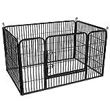 FEANDREA Valla para Perros Valla para Mascotas Plegable, Parque para Mascotas, Jaula para Perros, Paneles de Alambre metálicos, Negro 122 x 80 x 70 cm PPK04BK