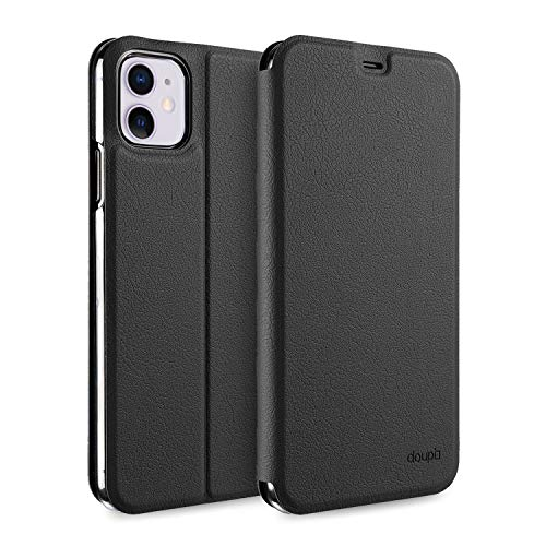doupi Flip Hülle für iPhone 11 (6,1 Zoll), Deluxe Schutz Hülle mit Magnetischem Verschluss Cover Klapphülle Book Style Handyhülle Aufstellbar Ständer, schwarz