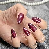 EchiQ Faux Ongles Forme Ovale Pointus Couleur Bordeaux Vampire Marron-Rouge