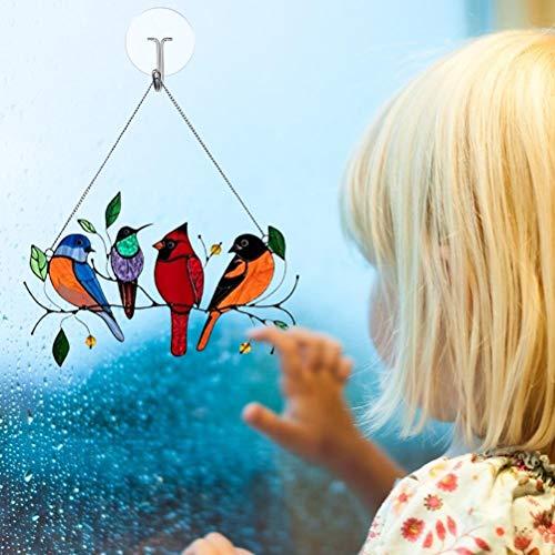 Multicolor Birds On-A-Wire Panel de Ventana de Atrapasueños de Vidrieras Altas, Colgante de Adornos Artísticos de la Serie de Aves, Colgante para Ventanas, Puertas, Decoración del Hogar y Regalos