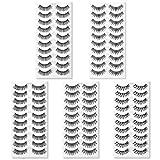 50 Pairs 5 Styles Natural False Eyelashes Set, TINGESHINE Professional Eyelashes Pack, Handmade Soft Band Reusable Comfortable Fake Lashes, 10 Pairs Eyes Lashes Each Style