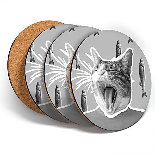 Destination Vinyl ltd Great Posavasos (juego de 4) redondos – BW – Funny Excitted Cat & Fish Pop Art Drink brillante posavasos / protección de mesa para cualquier tipo de mesa #42660
