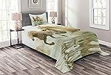ABAKUHAUS Pferde Tagesdecke Set, Camargue Pferde in Wasser, Set mit Kissenbezug Kein verblassen, für Einzelbetten 170 x 220 cm, Weiß Beige