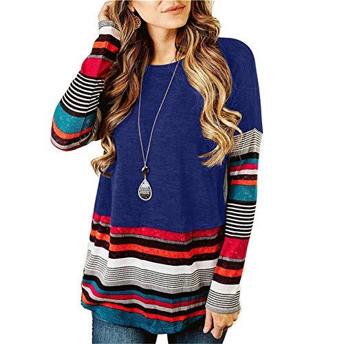 ZFQQ suéter de Camiseta de Cuello Redondo a Rayas de Manga Larga de Talla Grande para otoño e Invierno