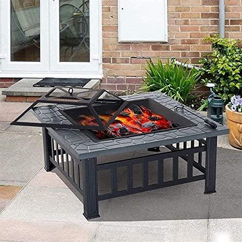 Pozo de fuego 3 en 1,calentador al aire libre / barbacoa / pozo de hielo,mesa cuadrada de brasero de metal con estante para parrilla de barbacoa,hoguera de patio con cubierta de pantalla de chispa / p