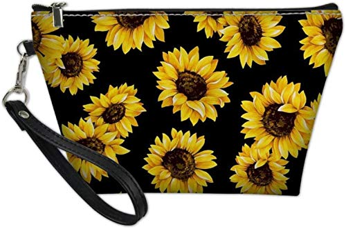 Rain Bichon Flower Stylish Toiletry Pouch Travel Protable Cosmetic Storage Bag Waterproof,Sunflower
