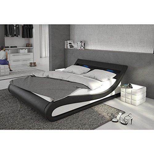 Innocent Polsterbett aus Kunstleder inkl. Lattenrost und LED-Beleuchtung Bellugia schwarz, 180x200 cm
