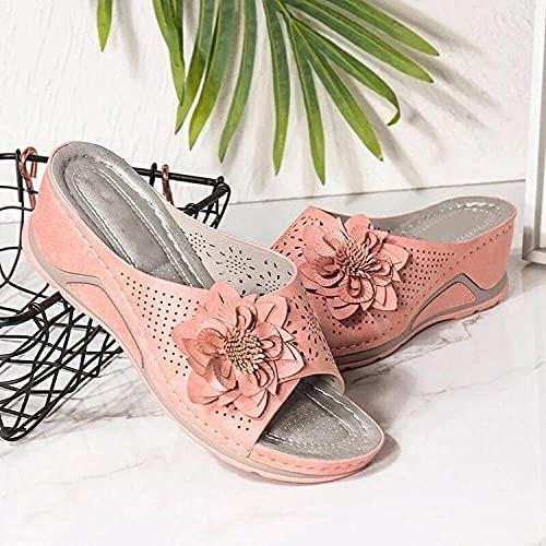 ypyrhh Zapatillas de Estar por Casa de Mujer/Hombre,Cuñas,Strement,Flores,Zapatos de Playa Huecos-Rosa_38,para Hombre Chanclas Slider
