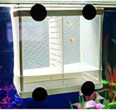 Kangkang@ DIY Aquarium Fish Breeding Box Tank Fish Incubator Net Fry Baby Fish Hatchery Equipment Isolation Net Box Tank with Suction Cup Size S/L
