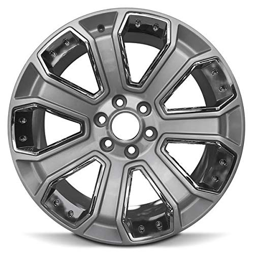 Road Ready Car Wheel For 2015-2018 Cadillac Escalade GMC Sierra GMC Yukon Chevy Suburban Chevy Tahoe 22 Inch 6 Lug Chrome Rim Fits R22 Tire - Exact OEM Replacement - Full-Size Spare