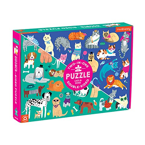 """Mudpuppy Cats and Dogs Double-Sided Puzzle, 100 Pieces, 22""""x16.5"""" – Perfect Family Puzzle for Ages 6+ - Colorful Illustrations of Dogs on One Side and Cats on the Other – Two Fun Puzzles in One Box"""