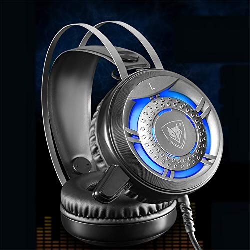 Leoie N1 Wired gaming hoofdtelefoon Deep Bass Game hoofdtelefoon Stereo Surround opvouwbare LED hoofdtelefoon met microfoon zwart