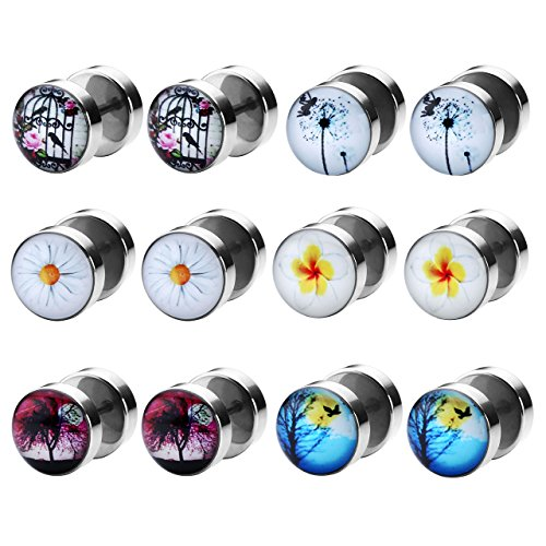 Zysta Piercing Schmuck, 6 Paare 8mm FakesPlugs Edelstahl Ohrstecker Set Fakeplugs OhrTunnel Expander NonPiercing Hantel-StilOhrringe Unisex (# 1)