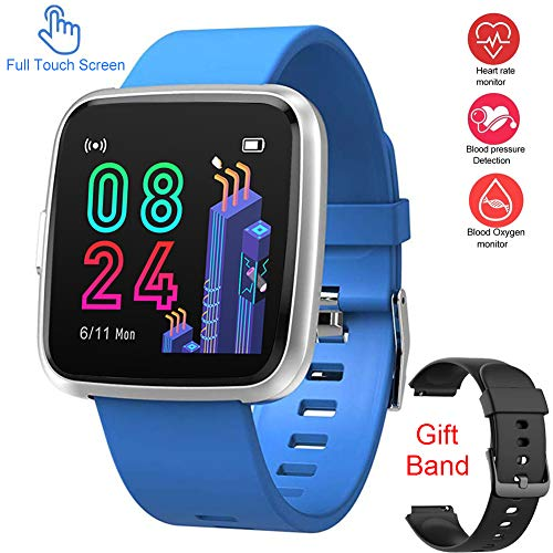 Updated Version Smart Watch for Android iOS Phone, Full Touch Screen Waterproof Activity Fitness Tracker Watches with Pedometer Heart Rate Monitor Sleep Tracker,Compatible with Samsung iPhone (Blue)