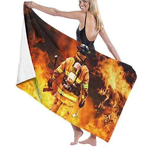 Funny Z Feuerwehr und Feuerwehr Design Feuerwehr Ultra Soft Stranddecke Handtuch Hochsaugfähig Schnelltrocknendes Handtuch Bad Duschtuch Übergroß 80x130cm
