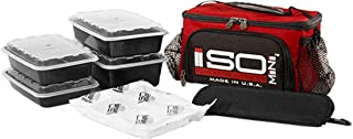 ISOMINI 2 Meal Prep Management Insulated Lunch Bag Cooler with 4 Stackable Meal Prep Containers, ISOBRICK, and Shoulder Strap - Made in USA (Red)
