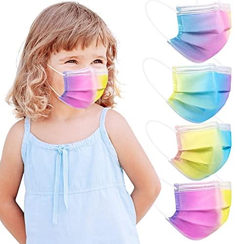 Acewin Einwegmasken Kinder Einweg Bunt, 50 Stück Kindermasken Farbig Regenbogen CE Zertifiziert 3 lagig Atmungsaktiv - Type IIR Masken Kinder Einweg Farbgradient