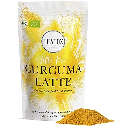 Teatox CURCUMA LATTE Mix | Goldene Milch | BIO-Getränkepulver mit Kurkuma Gewürz, Kardamom, Ingwer, Zimt | Superfood Golden Milk | Kurkuma Latte & Tee | Bio Kurkuma Pulver für ca. 30 Portionen