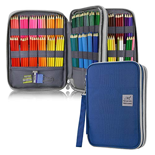 YOUSHARES 192 Slots Colored Pencil Case, Large Capacity Pencil Holder Pen Organizer Bag with Zipper for Prismacolor Watercolor Coloring Pencils, Gel Pens & Markers for Student & Artist (Blue)