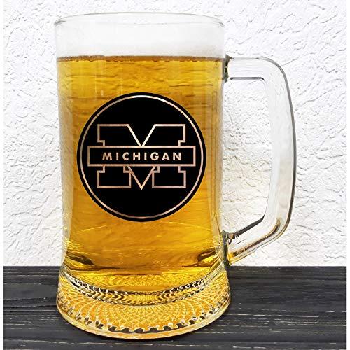 University of Michigan Glass Beer Stein - Gift For Him - Personalized Beer Mug Glass - Groomsmen Gift - Gift Ideas For Men - Gift For Daddy - Sport Mug