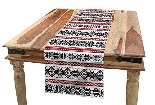 "Ambesonne Nordic Table Runner, Scandinavian Style Norwegian Ornamental Winter Motif Silhouettes Traditional, Dining Room Kitchen Rectangular Runner, 16"" X 72"", Black and White"