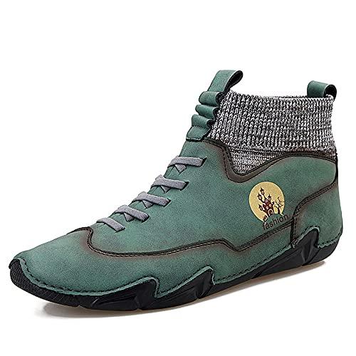 Botas Cortas De Otoño para Hombres, Zapatos De Mesa De Moda, Zapatos Casuales De Estilo Británico,Verde,48