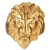 Men's Vintage 316L Stainless Steel Gold Lion Head Rings Heavy Metal Rock Punk Style Gothic Biker Ring Size 11