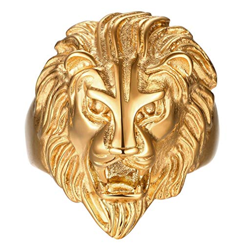 Men's Vintage 316L Stainless Steel Gold Lion Head Rings Heavy Metal Rock Punk Style Gothic Biker Ring Size 9