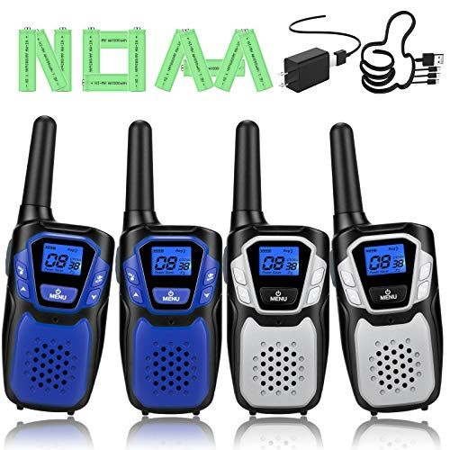 Product Image of the Walkie Talkies Rechargeable, 4 Pack Easy to Use Long Range Walky Talky for Adult...