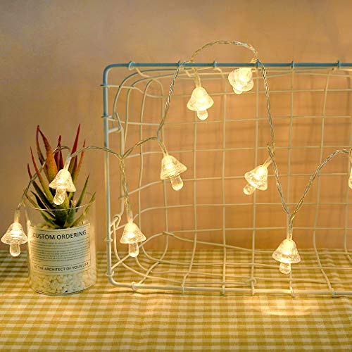 CRITY Lichterkette, Kreative Liebe Pilz Pentagramm Dekorativer Lichtstreifen INS Stil Clip Licht Zuhause Nachtlicht Dekoratives Seil Tischlampe Laterne (B)