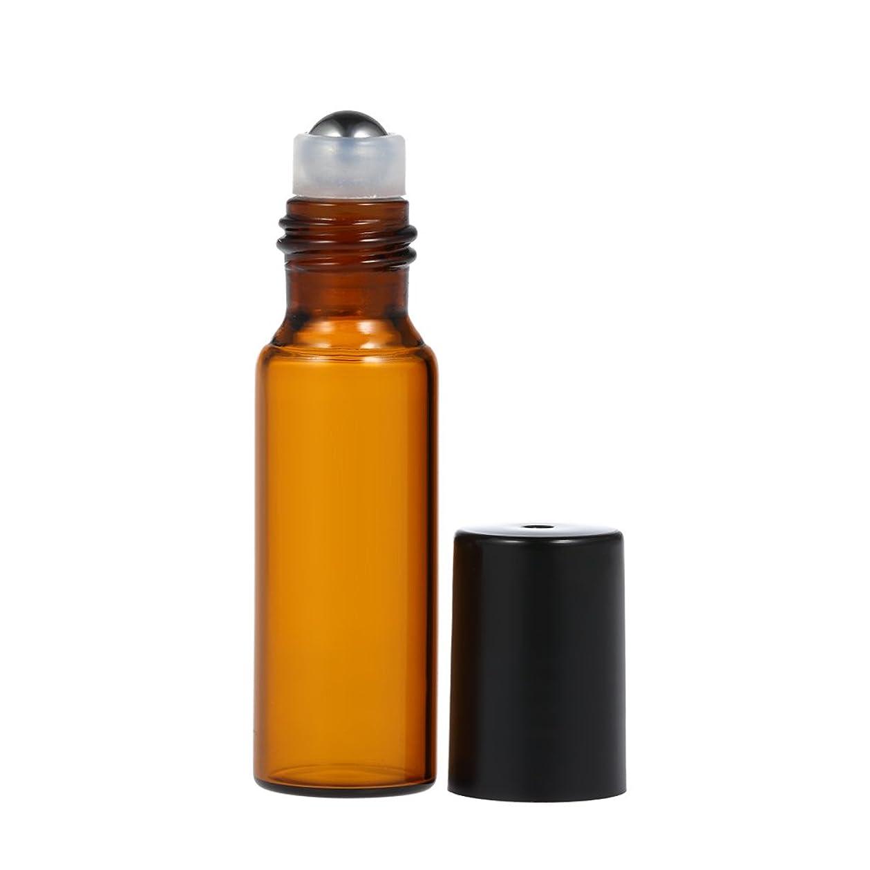野菜戦い期待Decdeal エッセンシャルオイルボトル アンバー ガラスボトル エッセンシャルオイルジャー 10個10ml